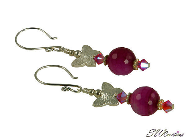Fuchsia Pink Butterfly Jade Handmade Earrings - SWCreations
