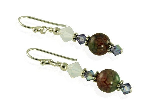 Tanzanite Fire Agate Gemstone Earrings - SWCreations