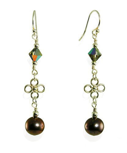 Dazzling Volcano Purple Pearl Crystal Earrings - SWCreations