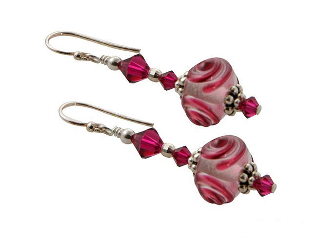 Pink Swirl Lampwork Bead Earrings - SWCreations