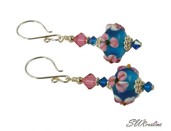 Rose Floral Blue Lampwork Bead Earrings - SWCreations