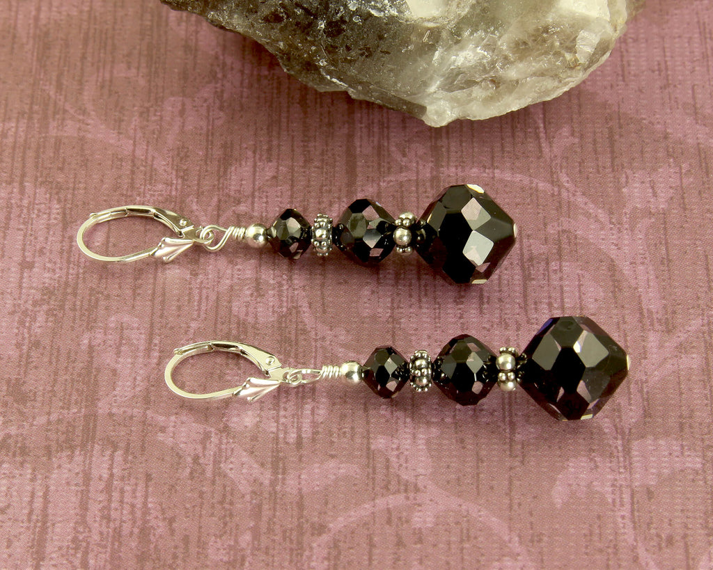 Elegant Cosmic Black Crystal Earrings, Sterling Silver