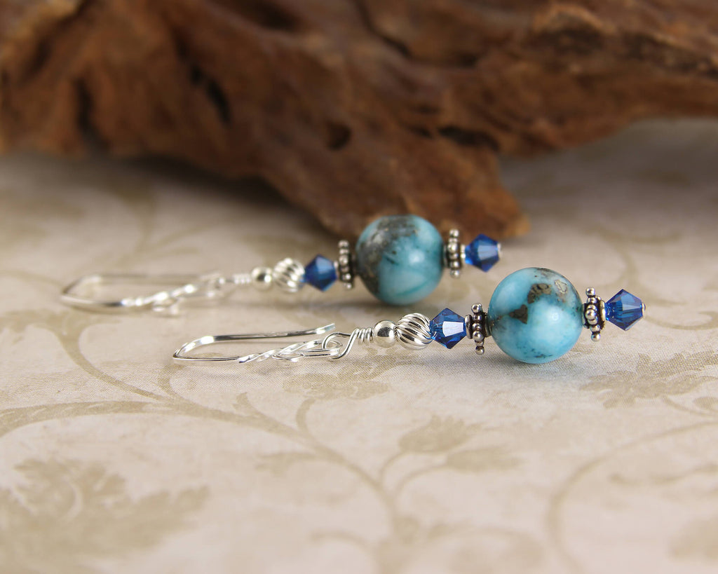 Aqua Blue Gemstone Beaded Earrings, Sterling Silver