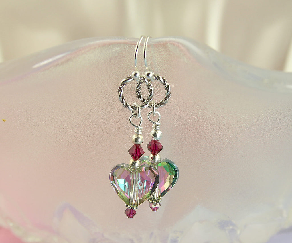 Ruby Swarovski Heart Crystal Earrings, Sterling Silver