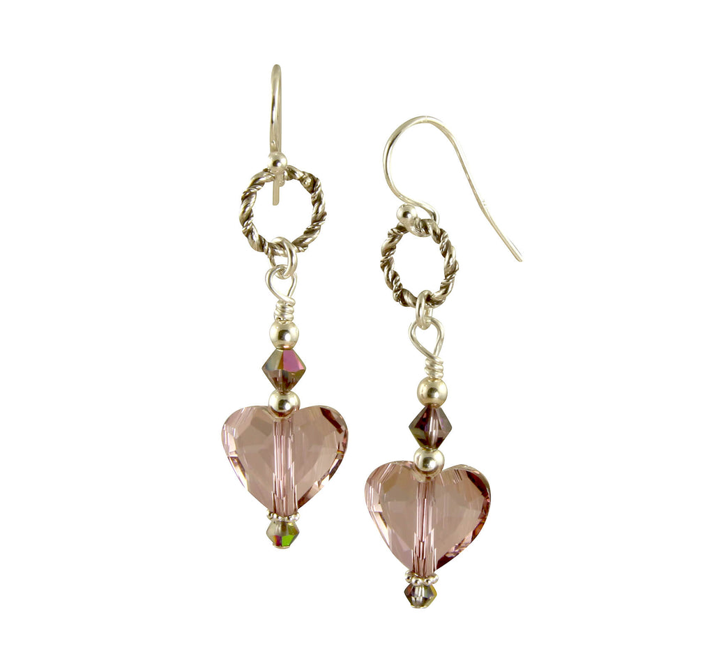 Mauve Swarovski Heart Crystal Earrings, Sterling Silver