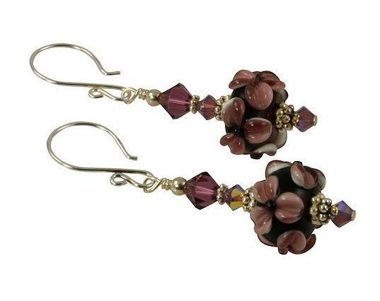 Amethyst Floral Lampwork Bead Earrings - SWCreations