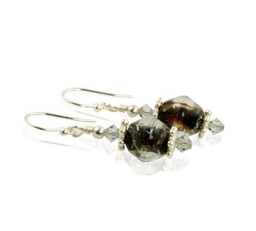 Chestnut Shimmer Topaz Crystal Beaded Earrings - SWCreations