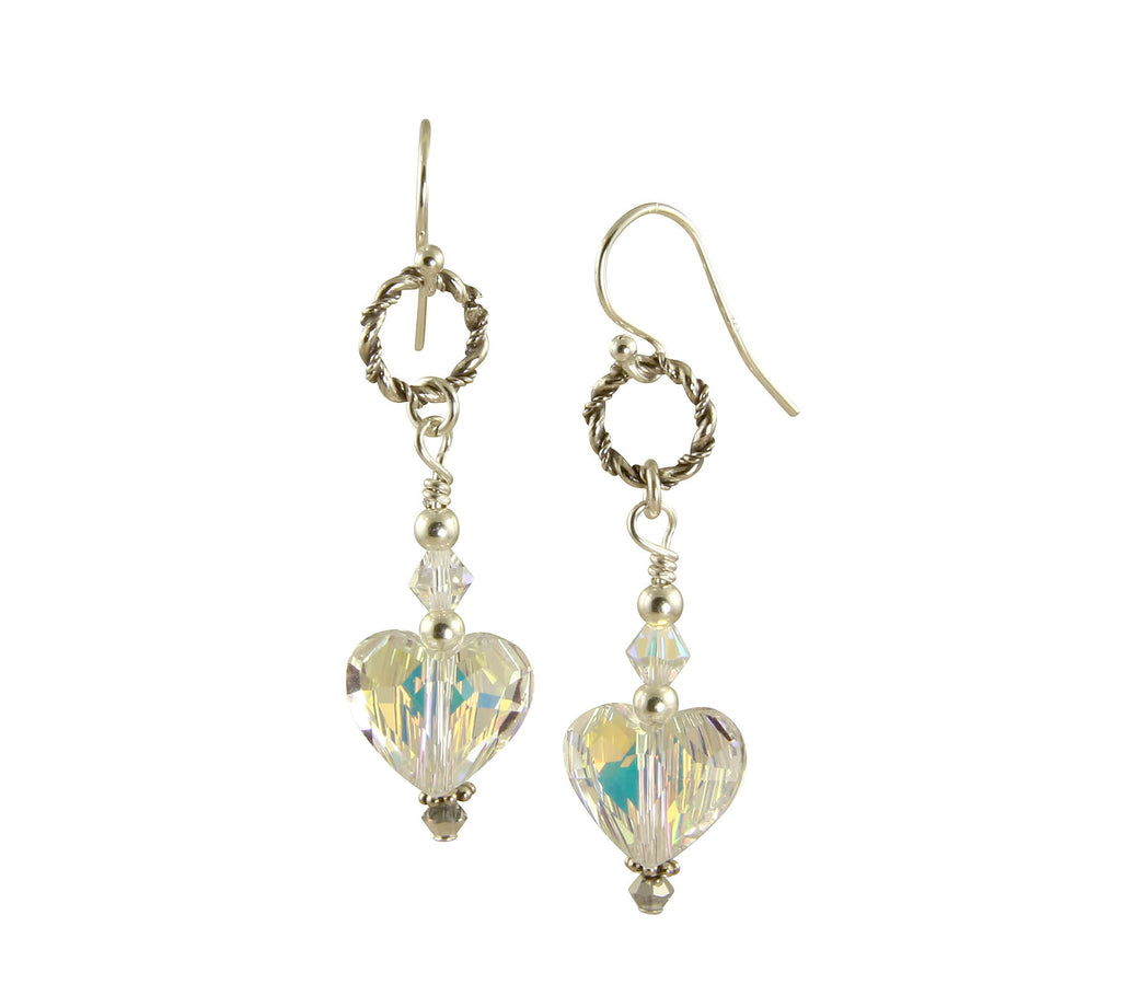 Iridescent Swarovski Heart Crystal Earrings, Sterling Silver