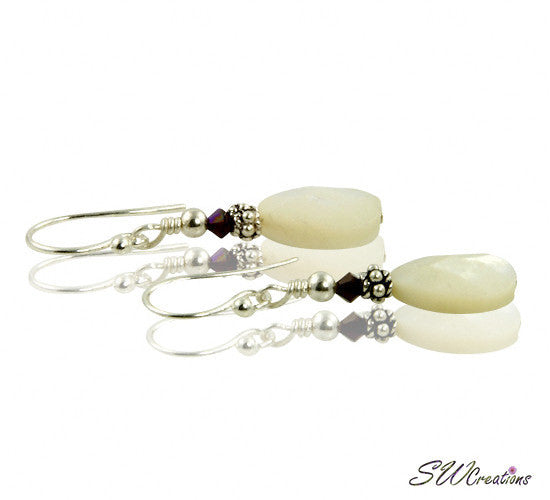 Garnet Crystal Mother of Pearl Earrings - SWCreations