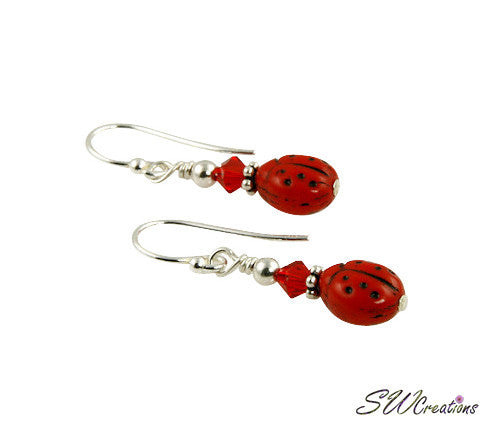Red Ladybug Beaded Crystal Earrings - SWCreations