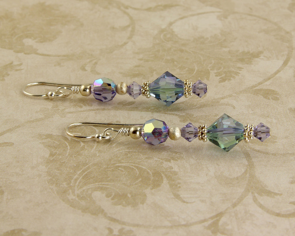 Tanzanite Green Crystal Beaded Earrings