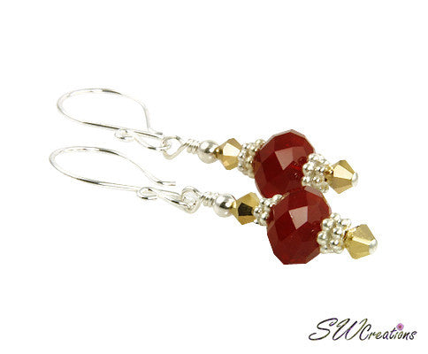 Golden Crystal Ruby Red Beaded Earrings - SWCreations
