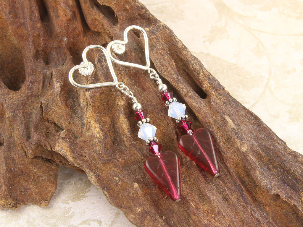 Ruby Heart Crystal Handmade Earrings