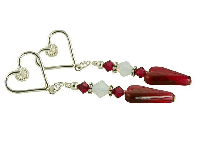Ruby Heart Crystal Handmade Earrings - SWCreations