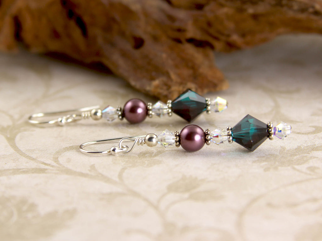Teal Burgundy Crystal Beaded Earrings
