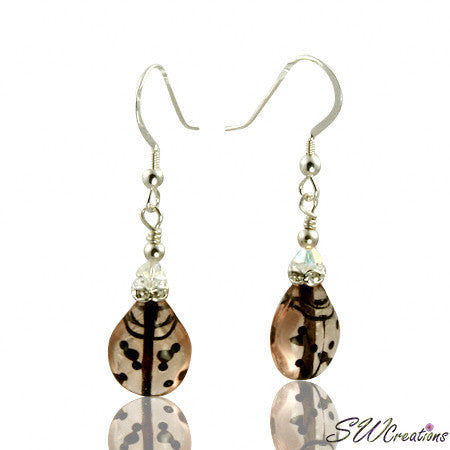 Lovely Mauve Crystal Ladybug Beaded Earrings - SWCreations
