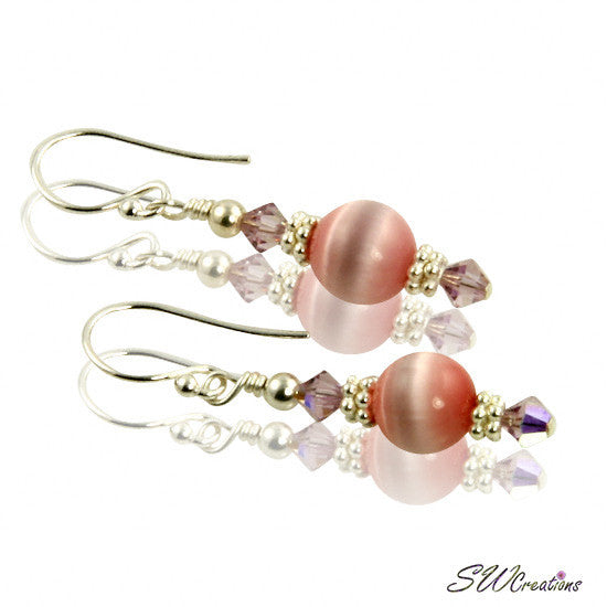 Crystal Cats Eye Rose Beaded Earrings - SWCreations