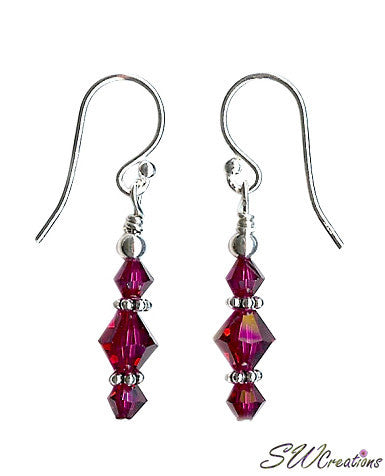 Ruby Jewel Beaded Crystal Earrings - SWCreations
