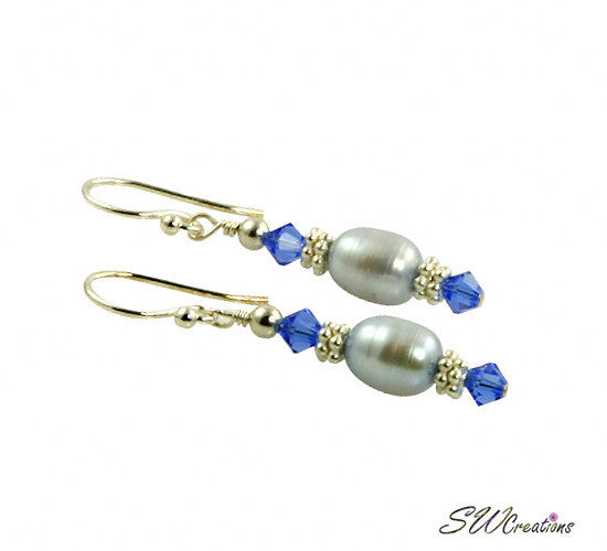 Sapphire Blue Crystal Pearl Beaded Earrings - SWCreations