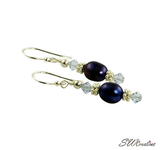 Lavender Indigo Pearl Beaded Earrings - SWCreations