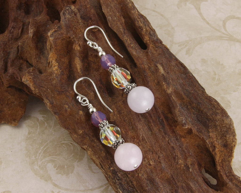 Rose Quartz Gemstone Beaded Earrings