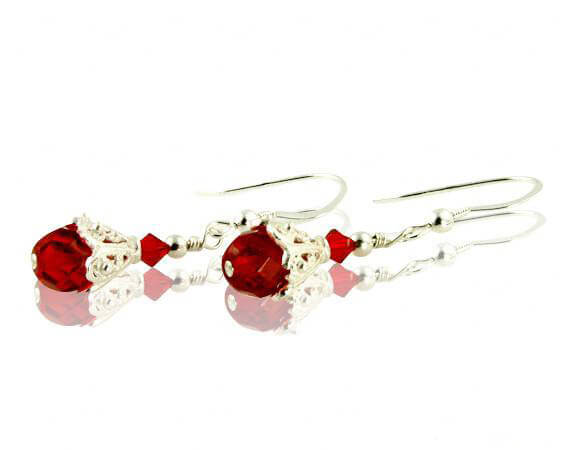 Classic Red Crystal Beaded Earrings