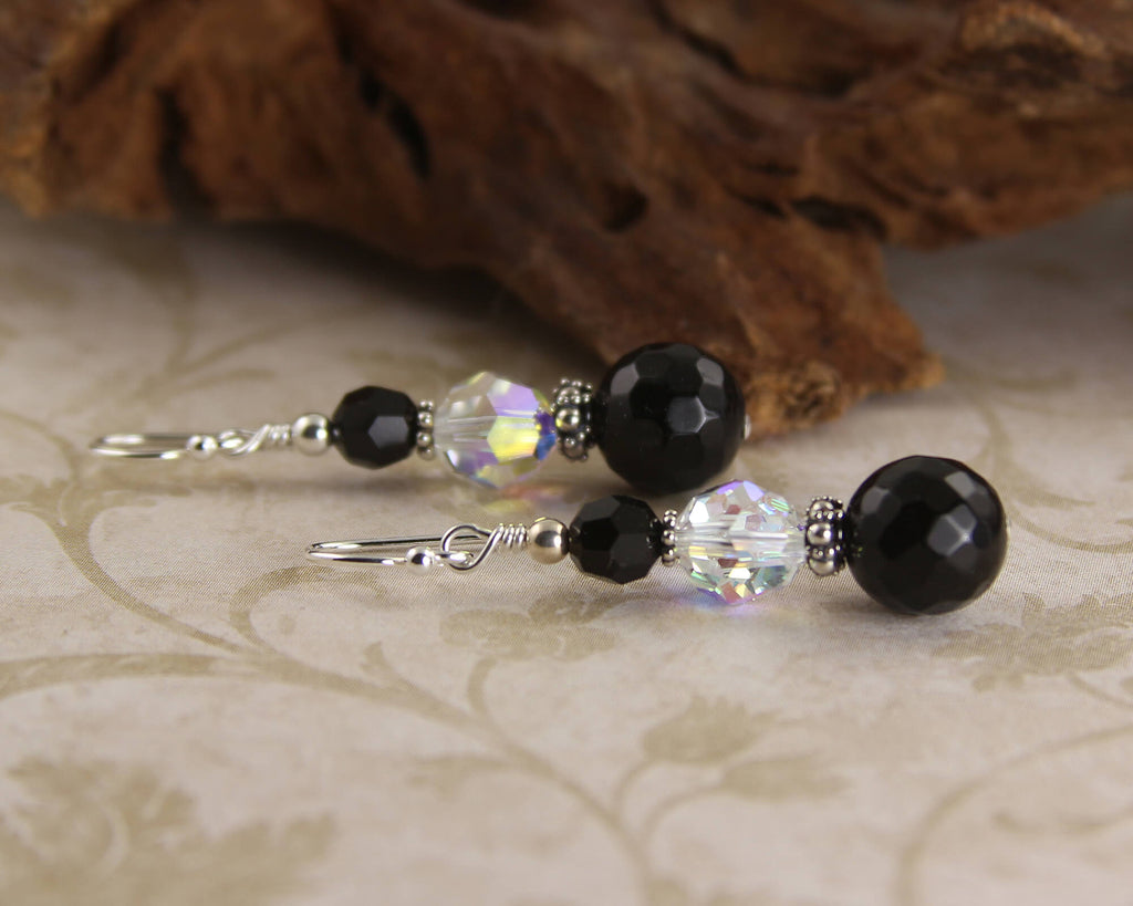 Onyx Gemstone Crystal Beaded Earrings
