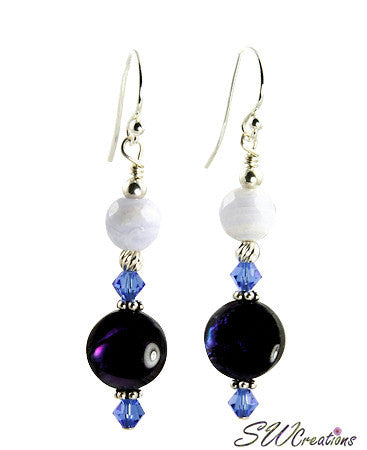 Sapphire Purple Abalone Shell Beaded Earrings - SWCreations