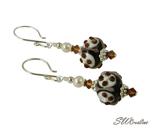 Creme Brulee Pearl Lampwork Beaded Earrings - SWCreations