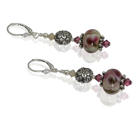 Cream Rose Lampwork Beaded Earrings - SWCreations