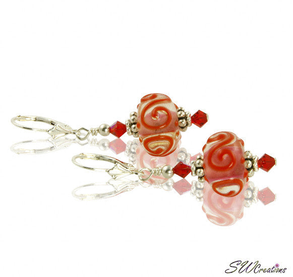 Red Crystal Swirl Lampwork Crystal Earrings - SWCreations