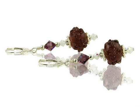 Amethyst Opal Floral Lampwork Crystal Earrings - SWCreations