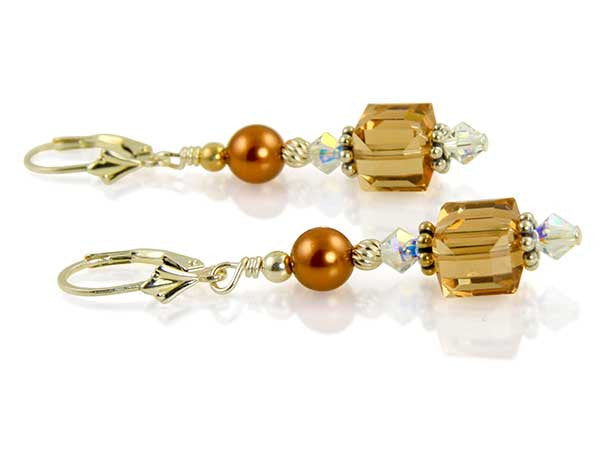 Topaz Crystal Cube Beaded Earrings - SWCreations