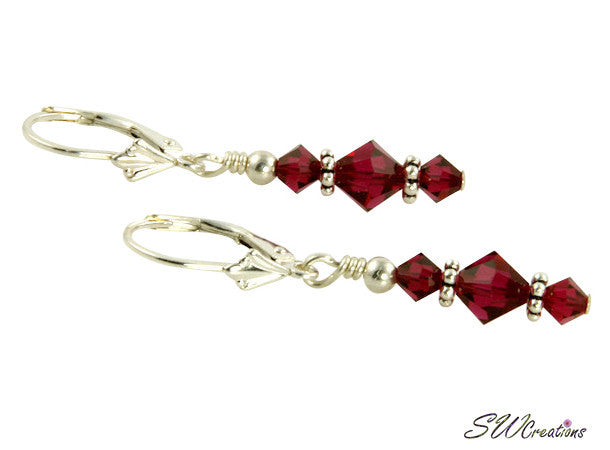 Ruby Swarovski Beaded Crystal Earrings - SWCreations