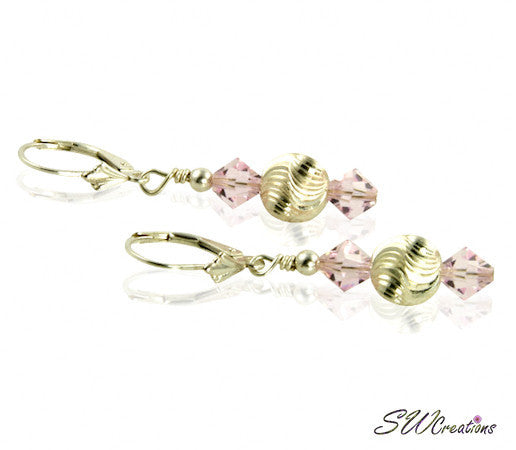 Champagne Rose Beaded Crystal Earrings - SWCreations