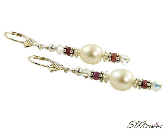 Pink Sapphire Gemstone Pearl Beaded Earrings - SWCreations
