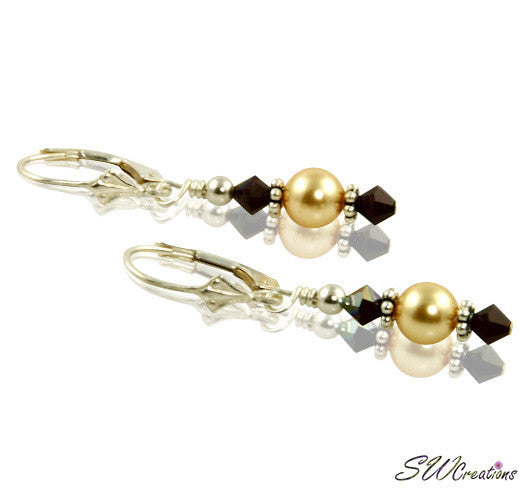Garnet Gold Pearl Beaded Earrings - SWCreations