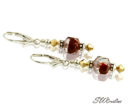Dazzling Golden Ruby Red Beaded Earrings - SWCreations