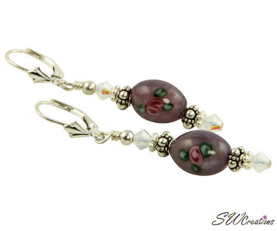 Opal Amethyst Floral Lampwork Earrings - SWCreations