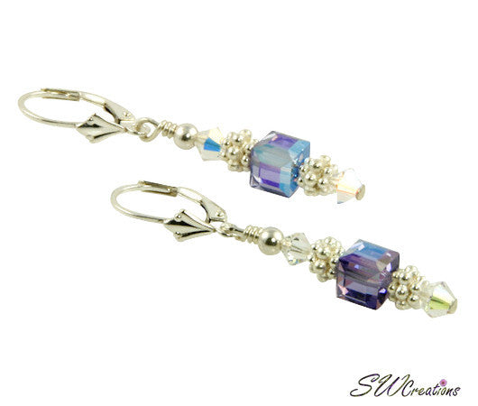 Tanzanite Purple Cube Crystal Earrings - SWCreations