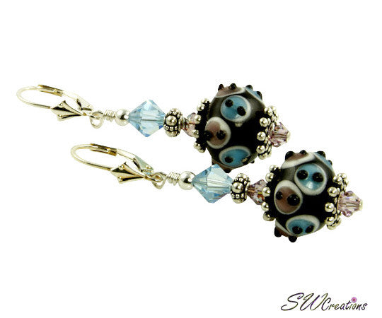Ocean Aqua Lampwork Beaded Earrings - SWCreations