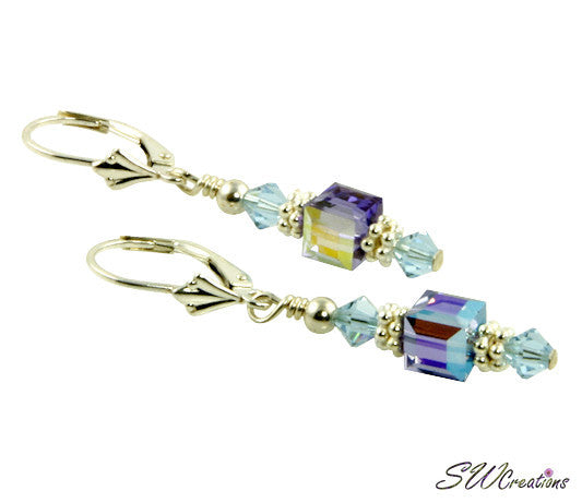 Tanzanite Sapphire Cube Crystal Earrings - SWCreations