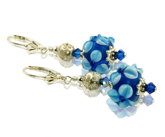 Cobalt Blue Lampwork Beaded Earrings - SWCreations