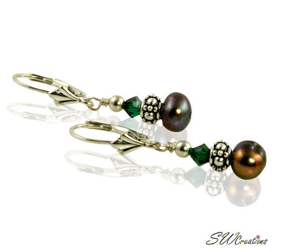 Emerald Brown Pearl Crystal Earrings - SWCreations