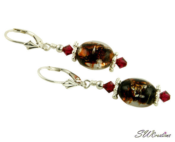 Ruby Brown Shimmer Crystal Earrings - SWCreations