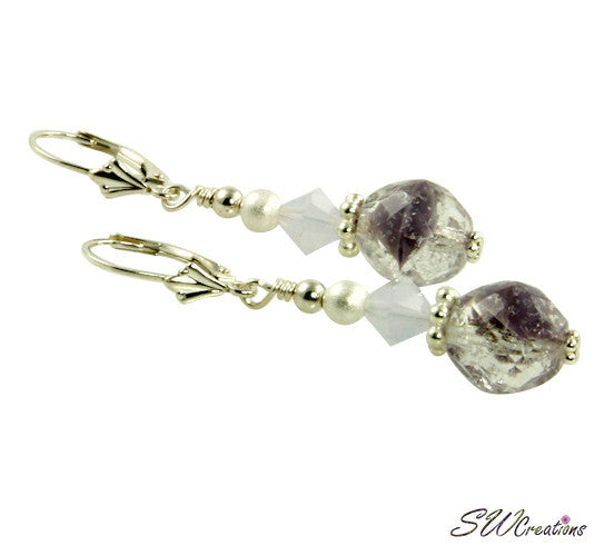 Violet Opal Lavender Beaded Earrings - SWCreations