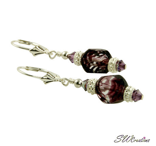 Violet Amethyst Silver Beaded Earrings - SWCreations