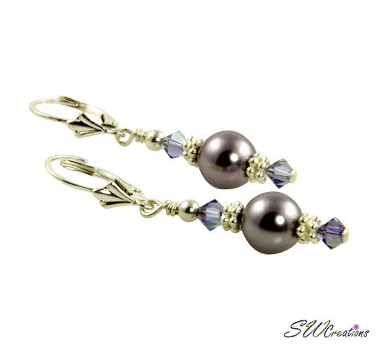 Tanzanite Mauve Silver Pearl Earrings - SWCreations