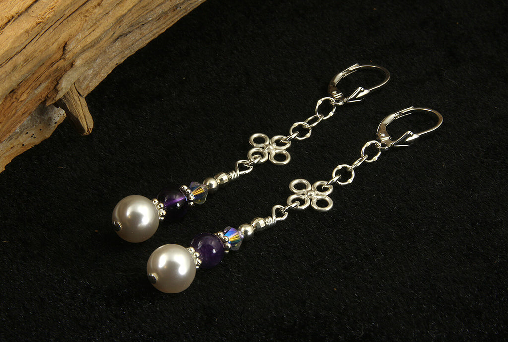Amethyst Gemstone Pearl Beaded Earrings