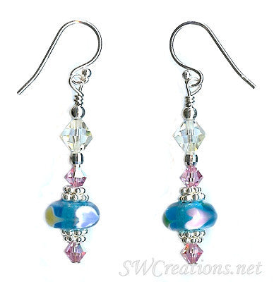 Rose Crystal Aqua Heart Beaded Earrings - SWCreations